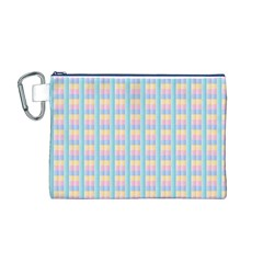 Grid Squares Texture Pattern Canvas Cosmetic Bag (m)