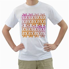 Geometric Abstract Orange Purple Pattern Men s T-Shirt (White) (Two Sided)