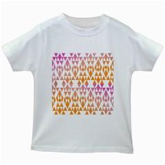 Geometric Abstract Orange Purple Pattern Kids White T-Shirts