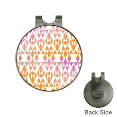 Geometric Abstract Orange Purple Pattern Hat Clips with Golf Markers