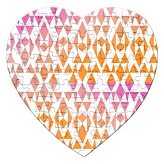 Geometric Abstract Orange Purple Pattern Jigsaw Puzzle (Heart)