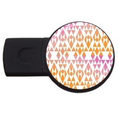 Geometric Abstract Orange Purple Pattern USB Flash Drive Round (4 GB)