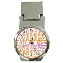 Geometric Abstract Orange Purple Pattern Money Clip Watches