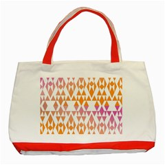 Geometric Abstract Orange Purple Pattern Classic Tote Bag (Red)