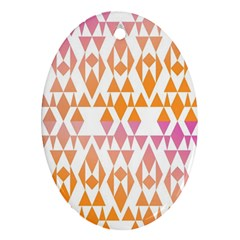Geometric Abstract Orange Purple Pattern Oval Ornament (two Sides)