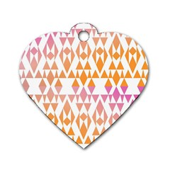 Geometric Abstract Orange Purple Pattern Dog Tag Heart (Two Sides)
