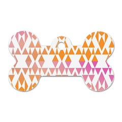 Geometric Abstract Orange Purple Pattern Dog Tag Bone (Two Sides)