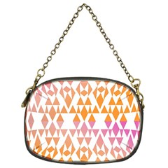 Geometric Abstract Orange Purple Pattern Chain Purses (One Side)