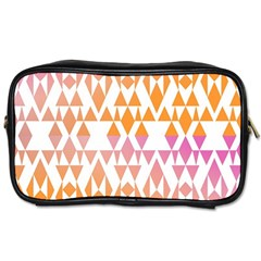 Geometric Abstract Orange Purple Pattern Toiletries Bags
