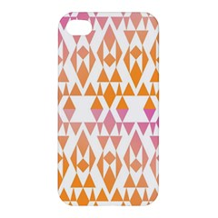 Geometric Abstract Orange Purple Pattern Apple iPhone 4/4S Premium Hardshell Case