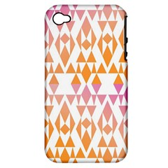 Geometric Abstract Orange Purple Pattern Apple iPhone 4/4S Hardshell Case (PC+Silicone)