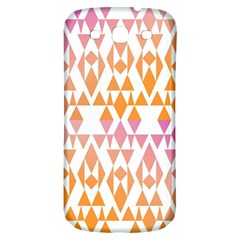 Geometric Abstract Orange Purple Pattern Samsung Galaxy S3 S III Classic Hardshell Back Case