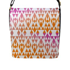 Geometric Abstract Orange Purple Pattern Flap Messenger Bag (L)