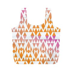 Geometric Abstract Orange Purple Pattern Full Print Recycle Bags (M)