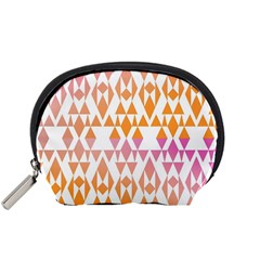 Geometric Abstract Orange Purple Pattern Accessory Pouches (Small)