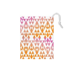 Geometric Abstract Orange Purple Pattern Drawstring Pouches (small)