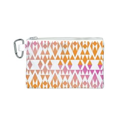 Geometric Abstract Orange Purple Pattern Canvas Cosmetic Bag (S)