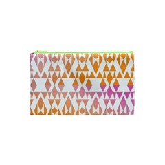 Geometric Abstract Orange Purple Pattern Cosmetic Bag (xs)
