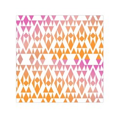 Geometric Abstract Orange Purple Pattern Small Satin Scarf (Square)