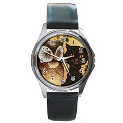 Owl And Black Cat Round Metal Watch