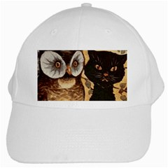 Owl And Black Cat White Cap