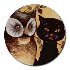 Owl And Black Cat Round Mousepads