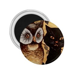 Owl And Black Cat 2 25  Magnets