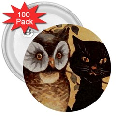 Owl And Black Cat 3  Buttons (100 pack)