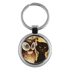 Owl And Black Cat Key Chains (Round)