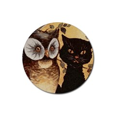 Owl And Black Cat Rubber Round Coaster (4 pack)