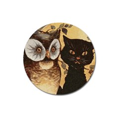 Owl And Black Cat Magnet 3  (Round)
