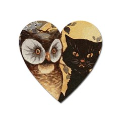Owl And Black Cat Heart Magnet