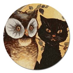 Owl And Black Cat Magnet 5  (Round)