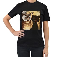 Owl And Black Cat Women s T Shirt (black) (two Sided)