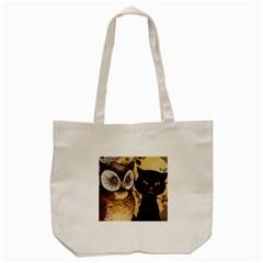 Owl And Black Cat Tote Bag (Cream)