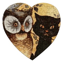 Owl And Black Cat Jigsaw Puzzle (Heart)