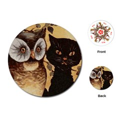 Owl And Black Cat Playing Cards (round)