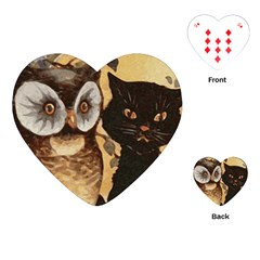 Owl And Black Cat Playing Cards (Heart)