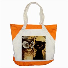 Owl And Black Cat Accent Tote Bag