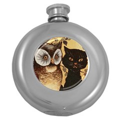 Owl And Black Cat Round Hip Flask (5 oz)