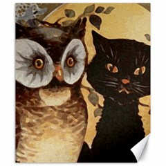 Owl And Black Cat Canvas 20  x 24