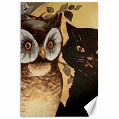 Owl And Black Cat Canvas 20  x 30