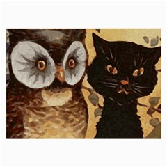 Owl And Black Cat Large Glasses Cloth