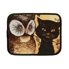 Owl And Black Cat Netbook Case (Small)
