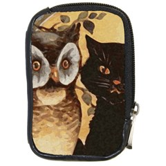 Owl And Black Cat Compact Camera Cases