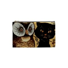 Owl And Black Cat Cosmetic Bag (small)