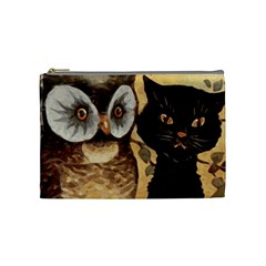 Owl And Black Cat Cosmetic Bag (Medium)