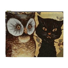 Owl And Black Cat Cosmetic Bag (XL)