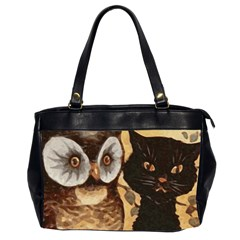 Owl And Black Cat Office Handbags (2 Sides)