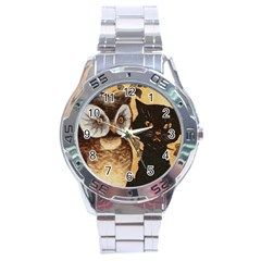Owl And Black Cat Stainless Steel Analogue Watch